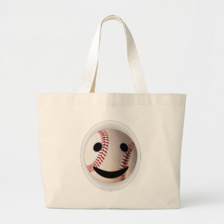 野球のスマイリーマークはあなたの単語を加えます ラージトートバッグ