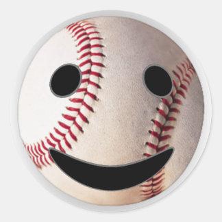野球のスマイリーマークはあなたの単語を加えます 丸形シールステッカー