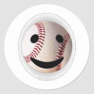 野球のスマイリーマークはあなたの単語を加えます 丸形シール・ステッカー