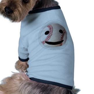 野球のスマイリーマークはあなたの単語を加えます 犬用リンガーTシャツ
