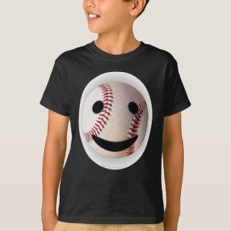 野球のスマイリーマークはあなたの単語を加えます Tシャツ