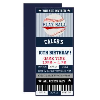 野球のチケットの招待状 カード