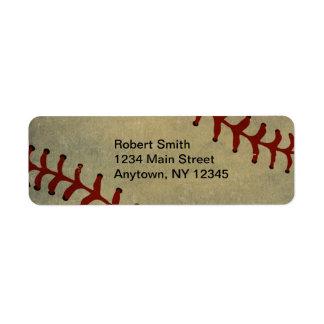 野球のデザインの差出人住所ラベル ラベル