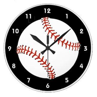 野球のデザインの柱時計 ラージ壁時計