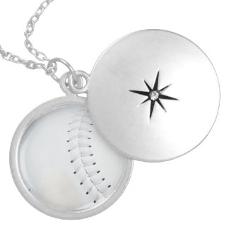 野球のネックレスかロケット シルバープレートネックレス