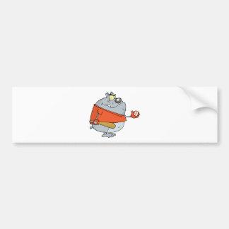 野球のブルドッグの漫画のマスコットのキャラクター バンパーステッカー