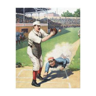 野球のヴィンテージの絵を描くこと キャンバスプリント