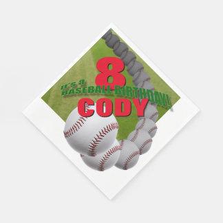 野球の誕生日-カスタムな紙ナプキン スタンダードランチョンナプキン