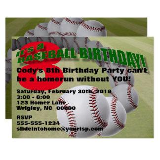 野球の誕生日! パーティの招待状 12.7 X 17.8 インビテーションカード