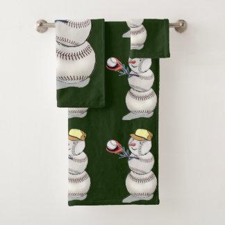 野球の雪だるまのクリスマス バスタオルセット
