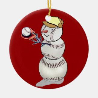 野球の雪だるま セラミックオーナメント