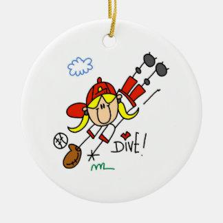 野球の飛び込みの女の子のソフトボールのTシャツおよびギフト セラミックオーナメント