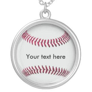 野球の(名前入りな)鎖およびペンダント シルバープレートネックレス