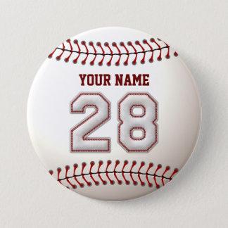 野球はプレーヤー第28および名前をカスタムするをステッチします 7.6CM 丸型バッジ