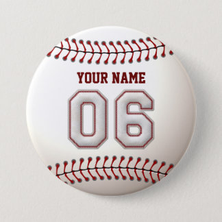 野球はプレーヤー第6および名前をカスタムするをステッチします 缶バッジ