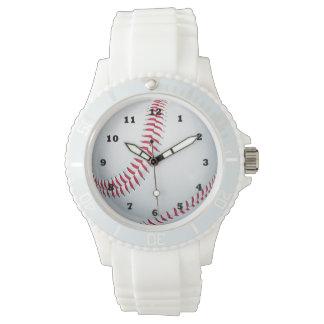 野球は白いシリコーンの革紐の腕時計を遊ばします 腕時計