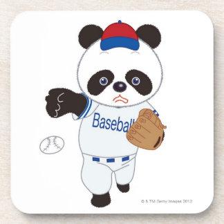 野球を投げているパンダの野球選手 コースター