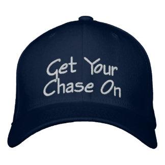 野球帽のあなたの追跡-海軍の白を得て下さい 刺繍入りキャップ