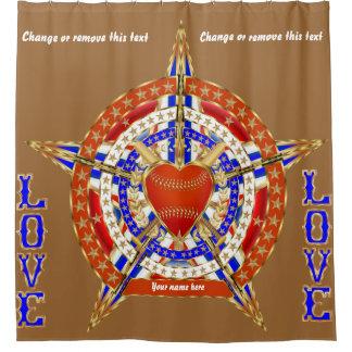 野球愛は名義変更の文字の眺めを私のヒント加えます シャワーカーテン