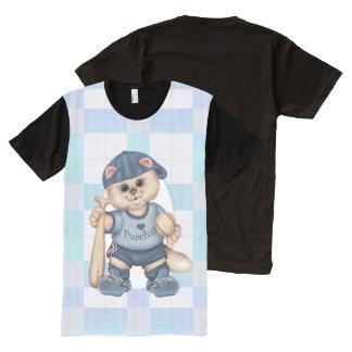 野球猫の人の服装によって印刷されるTシャツの青 オールオーバープリントT シャツ