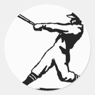 野球衝突 丸形シール・ステッカー