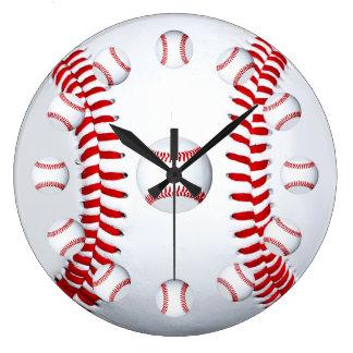 野球選手のチーム・スポーツファンのギフトのアイディア ラージ壁時計