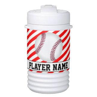 野球選手赤い及び白のストライプのカスタムのクーラー ドリンククーラー