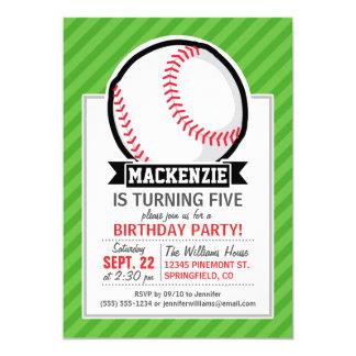 野球、|ソフトボール;|緑|縞で飾ります 12.7 X 17.8 インビテーションカード
