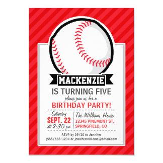 野球、|ソフトボール;|赤い|斜め|縞で飾ります 12.7 X 17.8 インビテーションカード