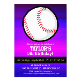 野球、|ソフトボール|鮮やか|すみれ色|青い|マゼンタ 12.7 X 17.8 インビテーションカード