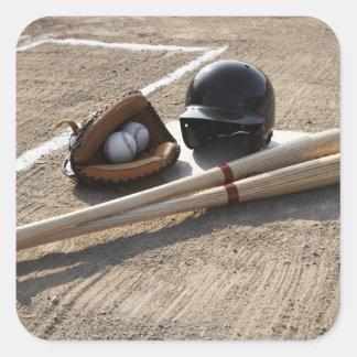 野球|手袋、|球、|こうもり|ヘルメット 正方形シール・ステッカー
