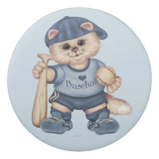 野球CATの男の子の円形の消す物 消しゴム