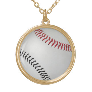 野球Fan-tastic_Color Laces_rd_bk ゴールドプレートネックレス
