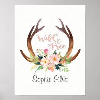 野生および自由な水彩画のシカの枝角および花 ポスター
