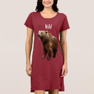 野生くまの女性のTシャツの服か寝間着 ドレス