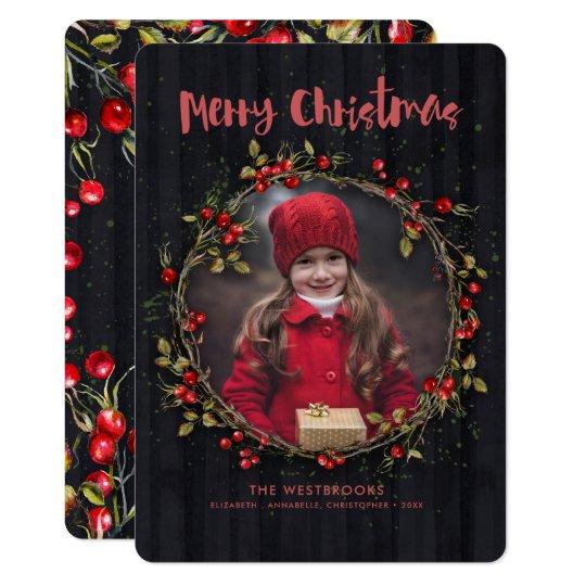 野生のばら色のフルーツのクリスマスのリースの休日の写真 12.7 X 17.8 インビテーションカード