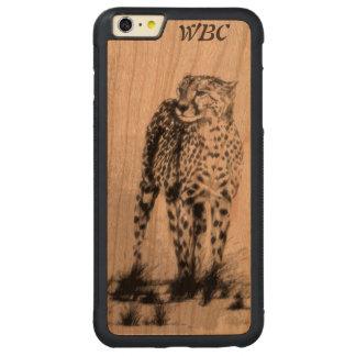 野生のアフリカのチータは、永久に、レトロのデザイン放します CarvedチェリーiPhone 6 PLUSバンパーケース