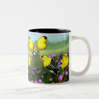 野生のアメリカのGoldfinchesのマグ ツートーンマグカップ