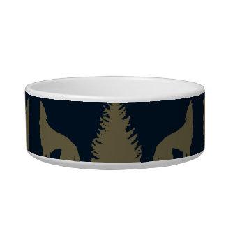 野生のアメリカヘラジカのオオカミの松の木の素朴なタンの濃紺 ボウル