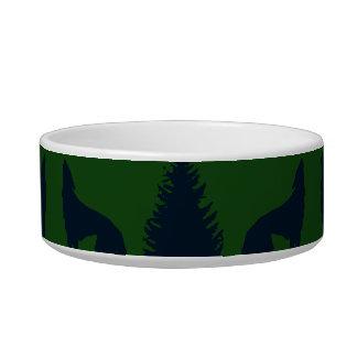 野生のアメリカヘラジカのオオカミの松の木素朴な緑海軍 ボウル