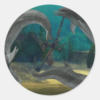 野生のイルカ ラウンドシール