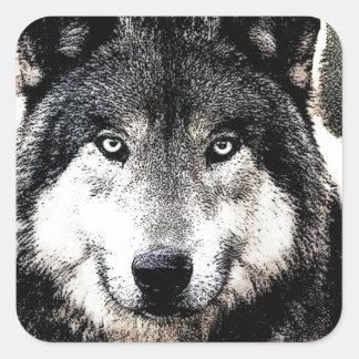野生のオオカミのアートワークの正方形のステッカー スクエアシール