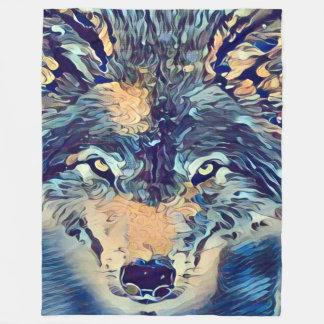 野生のオオカミの野性生物のポートレートのグラフィックアート フリースブランケット