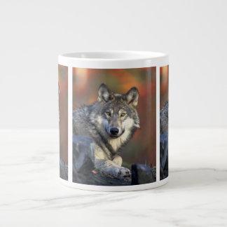 野生のオオカミ ジャンボコーヒーマグカップ