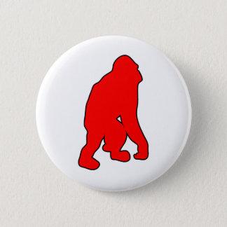 野生のオランウータンの大型類人猿猿のシルエット 缶バッジ