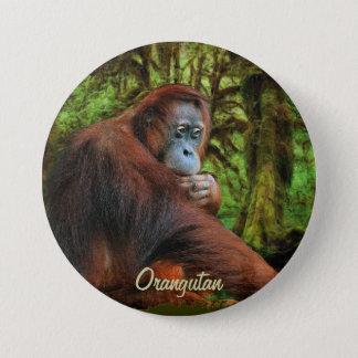 野生のオランウータン及びジャングルの霊長目の芸術ボタン 缶バッジ