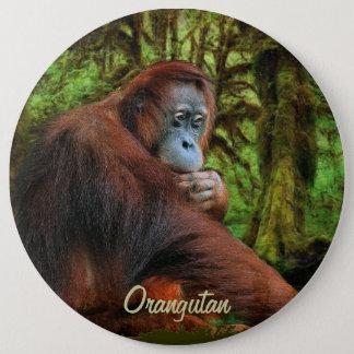 野生のオランウータン及びジャングルの霊長目の芸術ボタン 15.2CM 丸型バッジ
