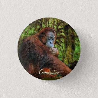野生のオランウータン及びジャングルの霊長目の芸術ボタン 3.2CM 丸型バッジ