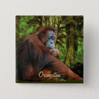 野生のオランウータン及びジャングルの霊長目の芸術ボタン 5.1CM 正方形バッジ