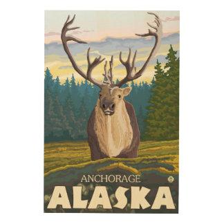 野生のカリブー-アンカレッジ、アラスカ ウッドウォールアート